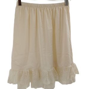 Cream slip skirt with lace ruffles size small